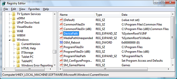 Windows device path in registry
