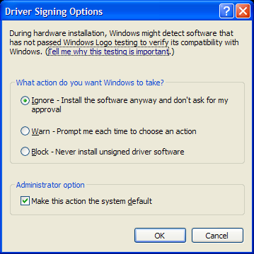 Ignore unsigned drivers in Windows XP