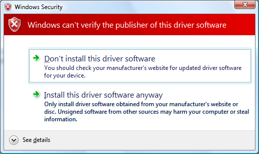 Unsigned driver install message